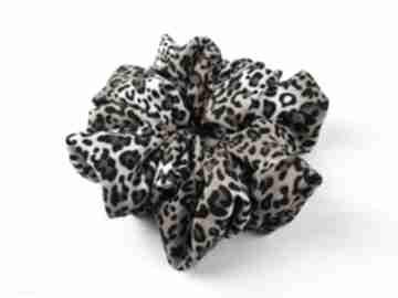 Gumka scrunchie dzika pantera lampart w centki ozdoby do włosów