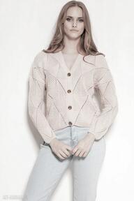 Ażurowy sweter na guziki - swe143 róż swetry lanti urban fashion