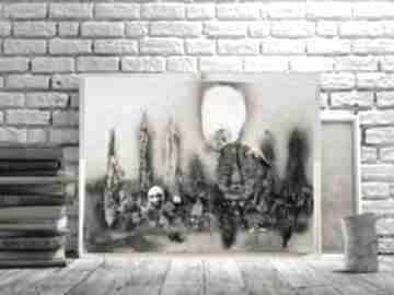 Zgliszcze estera grabarczyk obraz do salonu, abstrakcyjny obraz