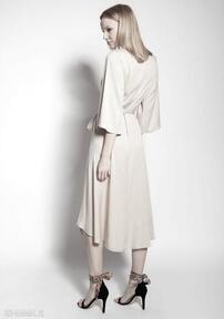 Sukienka kopertowa, suk185 beż sukienki lanti urban fashion
