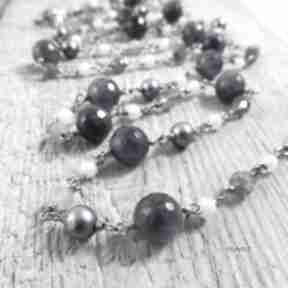 Długi naszyjnik - perły, ametyst naszyjniki irart srebro