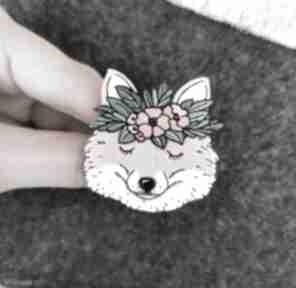 broszki. lis ręcznie-malowana pin broszka drewno-naturalne