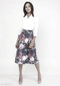 LANTI urban fashionspódnica midi kwiaty sexy casual kobieca
