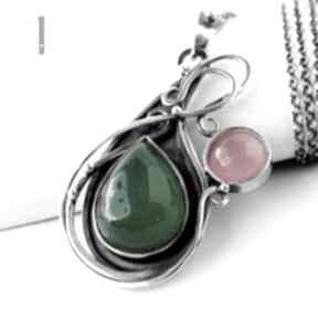 naszyjniki. Sour pear srebrny naszyjnik z agatem brazylijskim