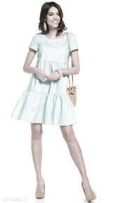 Sukienka mini z dwoma falbanami bawełny, t337, jasnoniebieska