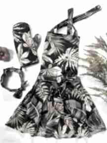 Elegancki fartuch kuchenny z rękawicą i opaską sielskie