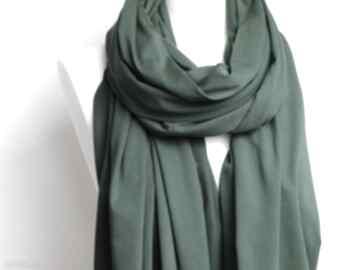 Wiosenny szal bawełniany, szalik, chusta, apaszka zielony szalik