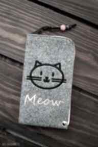 Filcowe etui na telefon - meow happyart smartfon, pokrowiec