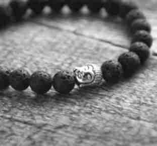 Męska bransoletka:: buddha & black lava ii kaktusia budda, on, chłopak,