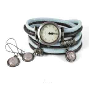 Komplet - słoń zegarek i kolczyki brązowy, niebieski antyczny