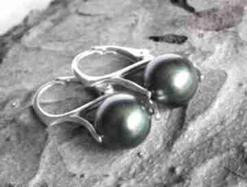 Srebrne kolczyki z perłami swarovski scarabeus green silvella