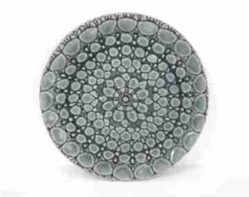 Turkusowy talerzyk z koronką ceramika ana ceramiczna, patera
