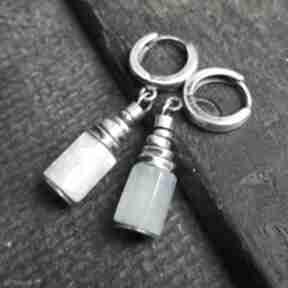 Kolczyki ze srebra i akwamarynów treendy akwamaryny, oksydowane