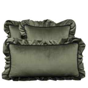 Poduszki dekoracyjne komplet 3 welur oliwka od majunto poduszek