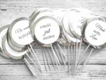 Piki do deserów - gold mirror zaproszenia biala konwalia piki