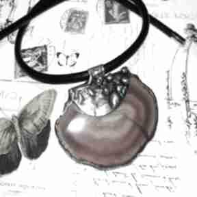 Brązowy agat w metaloplastyce wisiorki estera grabarczyk wisior