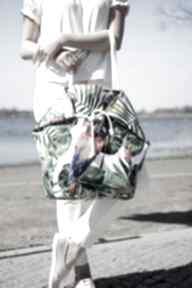 Duża torba na ramię,na miasto, plażę w papugi i hawajskie kwiaty