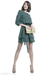 Elegancka sukienka z podwójną spódnicą, t320, szmaragdowa