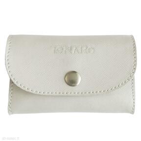 Skórzana portmonetka mini beżowa portfele tenaro skórzana, mini