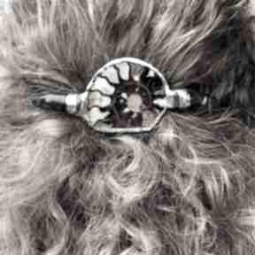 Spinka do włosów - amonit i agat ozdoby janish pracownia spinka