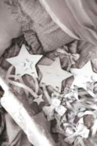 Drewniany organizer na spinki biała gwiazdka pokoik dziecka