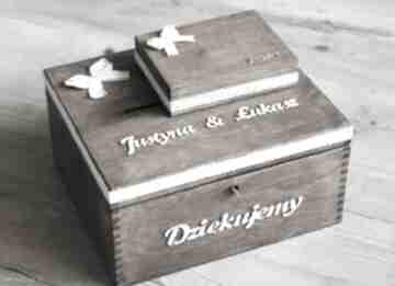 Zestaw pudełek - na koperty i obrączki księgi gości biala