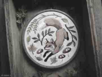dekoracje. lis-las leśne obrazek-z-liskiem lisek tamborek-haft