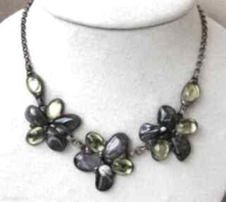 Naszyjnik kwiatowy zielono - ametystowy naszyjniki witrazka