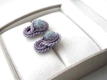 Fiołki ii - mini kolczyki sutasz samantha małe, sztyft, sutasz