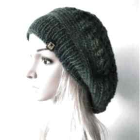 Ażurowy beret w zieleniach czapki barska beret, czapka, ażur