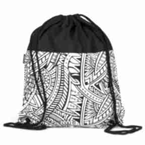 Czarno-biały geometryczny gawka worek, plecak, geometryczny