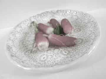 Koronkowa miseczka biała ceramika ana miseczka, miska, z-koronką