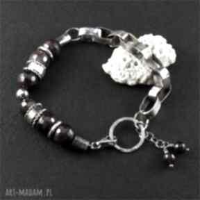 Granat uwięziony ewasko bransoletka srebrna, masywna bransoletka
