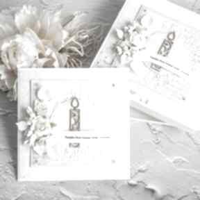 Kartka na chrzest lub narodziny 2 scrapbooking kartki biala