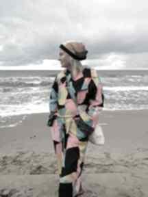Czapka damska patchworkowa na podszewce handmade czapki ruda