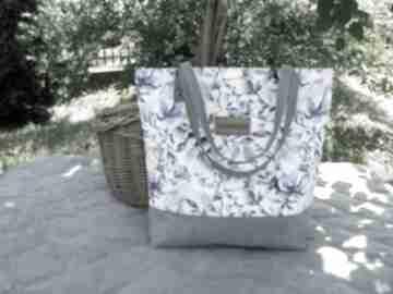 Sopper bag niebieskie listki torebki czarnaowsianka shopper