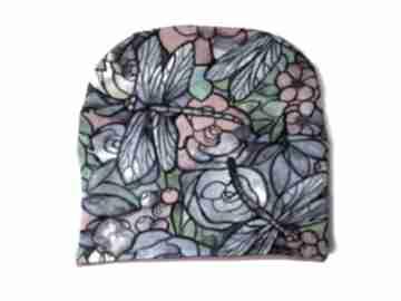 Czapka witraż czapki katarzyna staryk witraż, malowane kwiaty