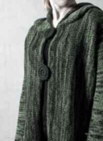 Zielony melanżowy rozpinany sweter z kapturem - arthermina