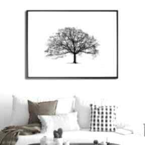 Grafika w ramie czarne drzewo 40x30 renata bulkszas czarno białe