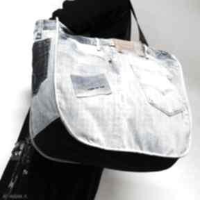 Duża torba upcykling jeans levis 76 od majunto na ramię