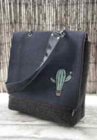Filcowa torba z haftem - kaktusy na ramię happyart torba