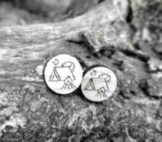 spinki do mankietów. namiot kemping spinki-do-mankietów drewniane