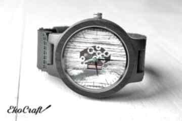 Drewniany zegarek ebony skeleton zegarki ekocraft heban