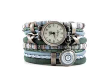 Zegarek-bransoletka w stylu boho, niebiesko-zielony z zawieszką