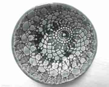 Ceramika Ana. miska ceramiczna z-koronką turkusowa