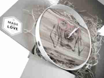 Nowość zegar ścienny pies, drewno metal, prezent zegary mymetal
