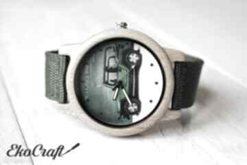 Drewniany zegarek military car zegarki ekocraft drewniany