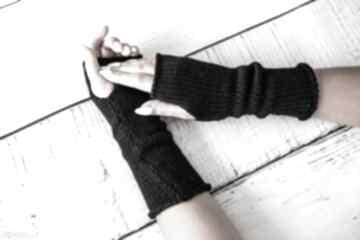 Mitenki czarne rękawiczki hermina wełniane, zimowe, wełniane