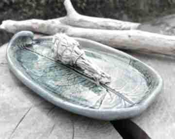 Ceramiczna patera, liść c293 ceramika shiraja podstawka