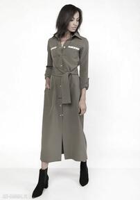 Długa sukienka w stylu militarnym, suk157 khaki sukienki lanti